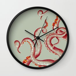 Coral Red Tentacles On Green-ish Beige Ink Wall Clock