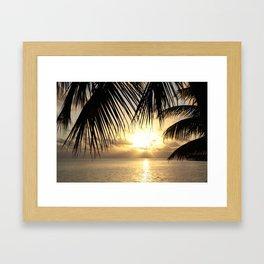 Sunset Through the Palms, Maldives  Framed Art Print
