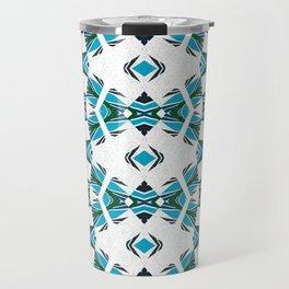 Neo Tribal Aztec Rhythmic Dance Geometric Turquoise, White & Black Travel Mug