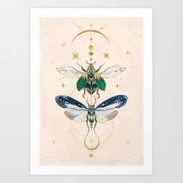 Moon insects Art Print