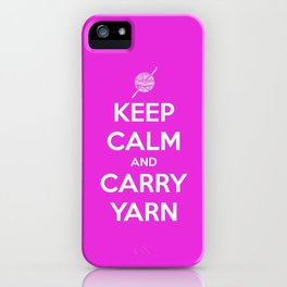 Keep Calm and Carry Yarn - Fuschia Solid - Crochet iPhone Case