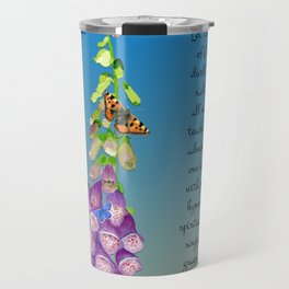 Colossians 3:16 Let the Word of Christ Dwell in you Richly Foxgloves Butterflies Watercolor Travel Mug