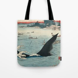 Whale hunting at the island of Goto in Hizen by Hiroshige, 1859 Tote Bag