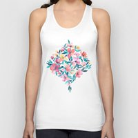 peach Tank Tops featuring Peach Spring Floral in Watercolors by micklyn
