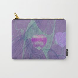 Heart Art- Abstract Art- Now or Later- Pink Heart- Purple Heart-Green-Pattern Art- Sacred Geometry Carry-All Pouch