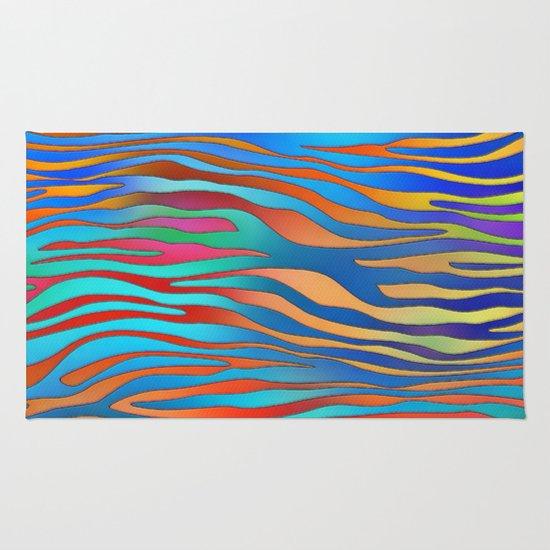 Colored Zebra Pattern Rug
