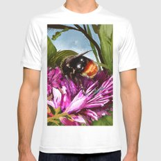 Bee on flower 9 MEDIUM Mens Fitted Tee White