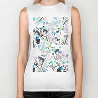 cartoon Biker Tanks featuring Cartoon Pattern by Eduardo Doreni