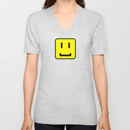 SQUARE SMILEY FACE CLASSIC YELLOW W/ BLACK Unisex V-Neck