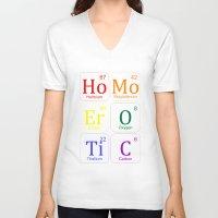 erotic V-neck T-shirts featuring HOMO EROTIC  by SLANTEDmind.com