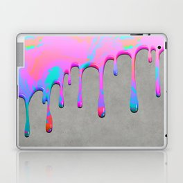 Pink Dripping Paint on Grey Laptop & iPad Skin