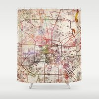 houston Shower Curtains featuring Houston by MapMapMaps.Watercolors