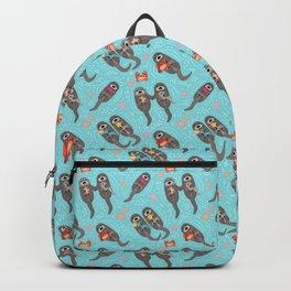 Otters Playing - Aquamarine Background Backpack