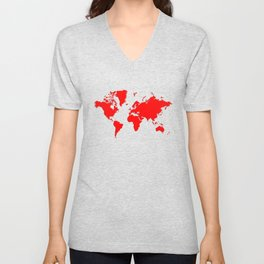 World with no Borders - true red Unisex V-Neck