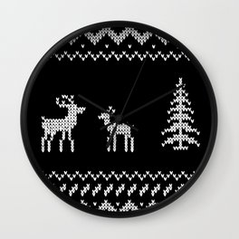 Christmas xmas reindeer knit design Wall Clock