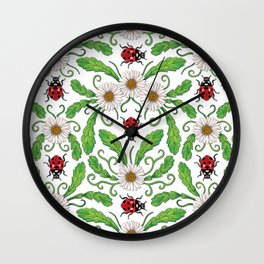 Ladybugs & Daisies - Cute Floral Bug Pattern with Ladybirds Wall Clock