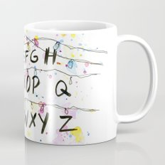 Stranger Things Alphabet Wall Christmas Lights Typography Mug