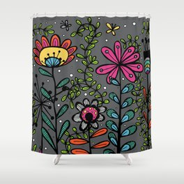 Weird and wonderful (Garden) - fun floral design, nature, flowers Shower Curtain