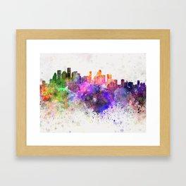 Houston skyline in watercolor background Framed Art Print