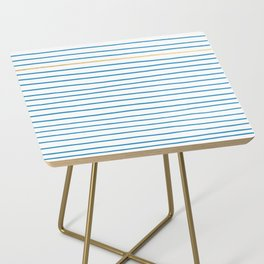 Blue French Paris Stripe Pattern with Gold Side Table