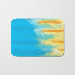 Bluish Blues 1 - Blues Yellows Greens and Oranges Abstract Beachy Bright Bath Mat
