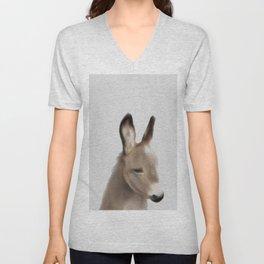 Baby donkey crowned art,Donkey Print, Nursery Animal Wall Art, Baby Shower Gift Unisex V-Neck