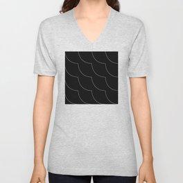 Minimalist White Curvy Lines on Black Background Pattern Unisex V-Neck