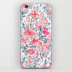 Coral and Grey Candy Striped Crayon Floral iPhone & iPod Skin