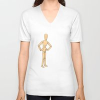 woody V-neck T-shirts featuring Woody by Susan Quilty