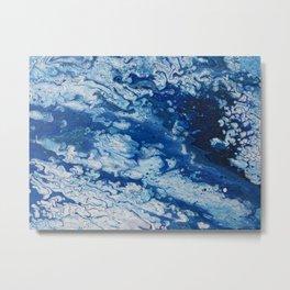 """Crash!"" Acrylic Pour Ocean Icy Waves Metal Print"