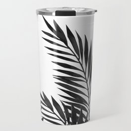 Palm Leaves Black Travel Mug