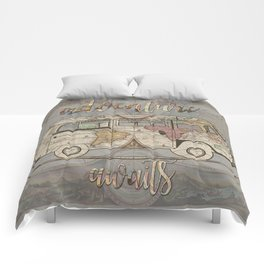 adventure awaits world map design 1 Comforters