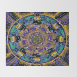 Purple Gold Dream Catcher Mandala Throw Blanket