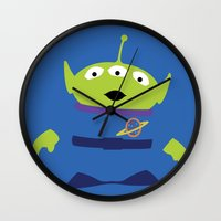 toy story Wall Clocks featuring Toy Story Alien by TracingHorses