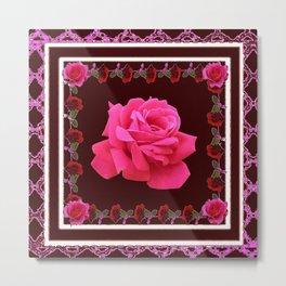 FUCHSIA PINK ROSE & BURGUNDY FLORAL PATTERNED ART Metal Print