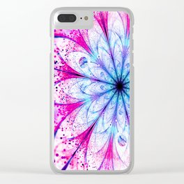 Winter Pink glittered Snowflake Clear iPhone Case
