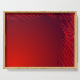 Greeting card of red lines made of smoke on a claret background. Serving Tray