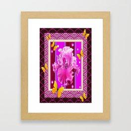 Yellow Butterflies Pink Iris Black-purple Asian Art Design Framed Art Print