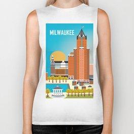 Milwaukee, Wisconsin - Skyline Illustration by Loose Petals Biker Tank