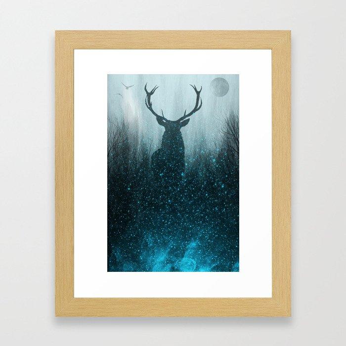 Snow Stag Silhouette Framed Art Print