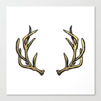 antlers Canvas Prints featuring Antlers by short&sweet
