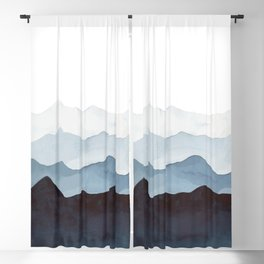 Indigo Mountains Landscape Blackout Curtain