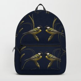 Great tit on swirled branch Backpack