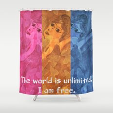 The world is umlimited. I am free... Shower Curtain