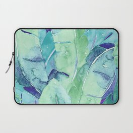 Banana Tree Leaves   Tropical  BLUE Watercolor Laptop Sleeve