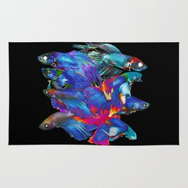 FIGHTING FISHES BETTA - Animals | Psychedelic | 70's | Abstract | Pop | Surrealism | Nature Rug