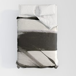 Brushstroke 9: a bold, minimal, black and white abstract piece Comforters