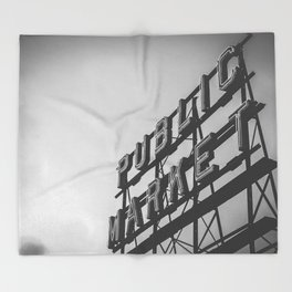 Seattle Pike Place Public Market Black and White Throw Blanket