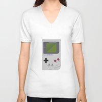 gameboy V-neck T-shirts featuring Gameboy by Ira Shepel