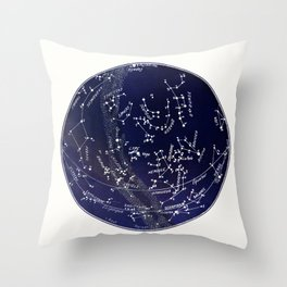 French August Star Map in Deep Navy & Black, Astronomy, Constellation, Celestial Throw Pillow